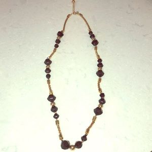 Adjustable Kate Spade necklace, gold w/black beads